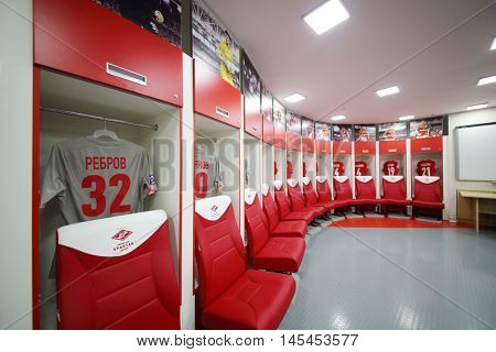 MOSCOW - DEC 25, 2014: Referee room for football players in Spartak stadium. Stadium capacity - 45 000 people. Stadium was built in 2010-2016