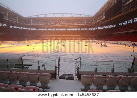 MOSCOW - DEC 25, 2014: Spartak stadium in snow. New stadium is included in list of objects for games will be played at 2018 World Cup