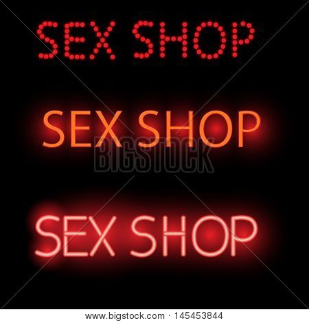 Neon Sign - Sex Shop, A Bright Red Billboard,