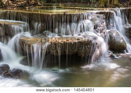 Natural waterfall in deep forest natural park, natural landscape background
