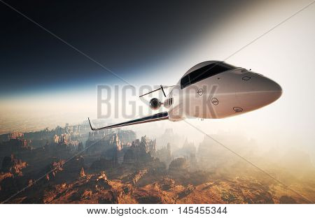 Photo White Glossy Luxury Generic Design Private Jet Flying in Sky under Earth Surface.Grand Canyon Background Sunset. Business Travel Image.Horizontal, Right Angle View.Film Effect. 3D rendering