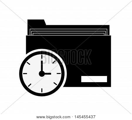 flat design file folder and clerical clip icon vector illustration