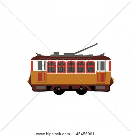 Vintage tram. Retro tram. Detailed tram. Side view tram. Touristic tram. Yellow tram vector illustration