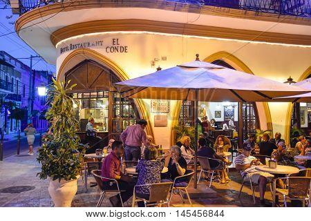SANTO DOMINGO, DOMINICAN REPUBLIC - January 24, 2016: Famous Hotel Restaurant EL CONDE in Conde Street. Colonial Zone of Santo Domingo, Dominican Republic.