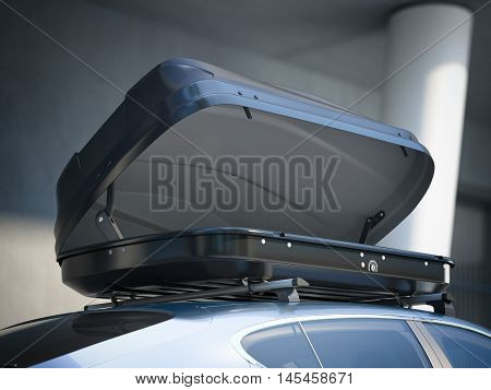 Opened roof rack and modern silver car. 3d rendering