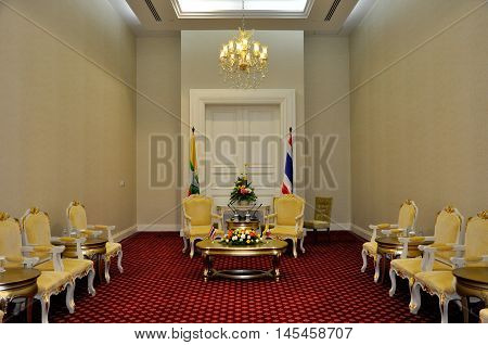 Phnom Penh, Cambodia - 19 November 2012. The bilateral meeting room had setup for Prime minister of Myanmar, Thein Sein, and Prime minister of Thailand, yingluck Shinawatra