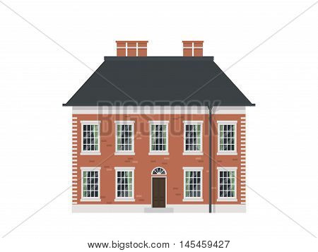 Detailed isolated vector old town victorian style house. English brick town house