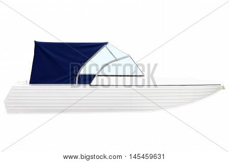 Boat with a blue awning isolated on white background.