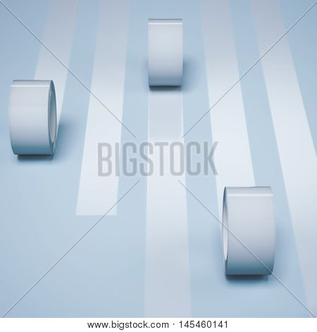 Five white adhesive tapes on a bright floor. 3d rendering