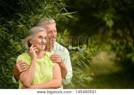 Beautiful caucasian elderly couple in the park