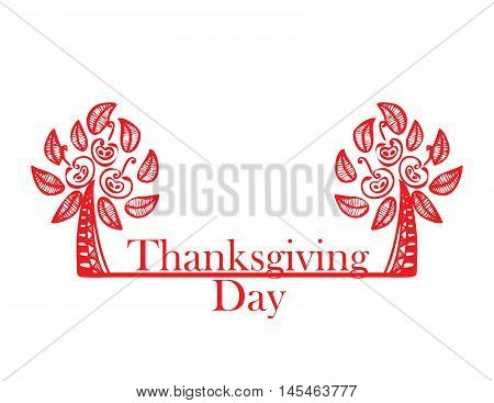 abstract red trees with apples on the Thanksgiving Day. vector