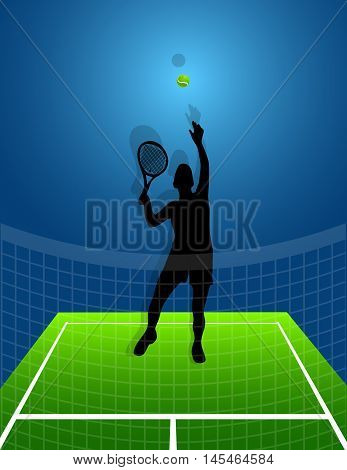 tennis background with ball and silhouette man. vector