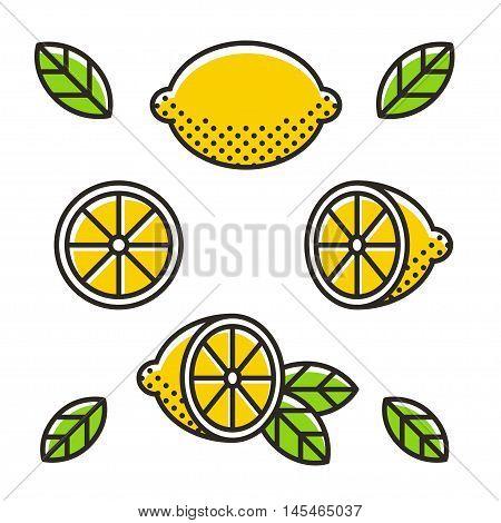 Retro style lemons line icon set. Whole lemon slice and leaves. Modern geometric flat vector illustration.