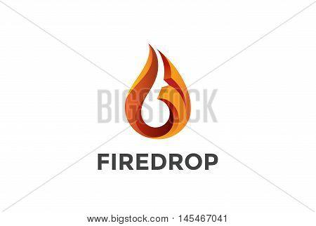 Fire Flame droplet Logo design vector. 3D drop Logotype icon