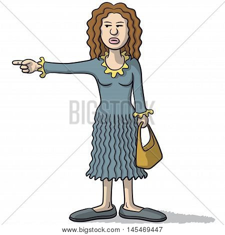 Cartoon Woman With A Suspicious Look Indicates