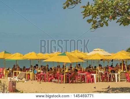 FORTALEZA, BRAZIL, DECEMBER - 2015 - Landscape view of crowded beach in Fortaleza Brazil