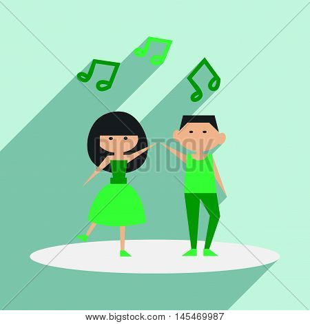 Flat with shadow icon and mobile application dancing