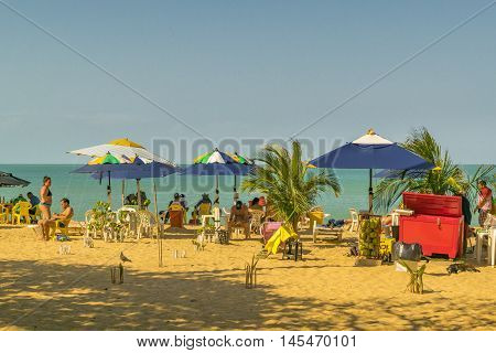 FORTALEZA, BRAZIL, DECEMBER - 2015 - Landscape scene with people at the beach in Fortaleza Brazil