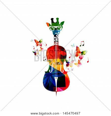 Creative music concept vector illustration, colorful giraffe hipster with butterflies. Giraffe head violoncello, hipster animals, string music instrument with music notes. Music style template