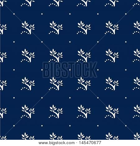 Navy Blue Floral Seamless Pattern with Polka Dots. Tender vector illustration vintage and retro style nature theme.