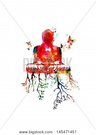 Colorful Gautama Buddha sitting in meditation, waiting for Nirvana, vector illustration, butterflies decorated. Buddha illumination template, buddhism inspired background with  buddha statue and trees