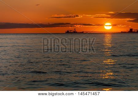oil tankers at sunset in point roberts washington state usa