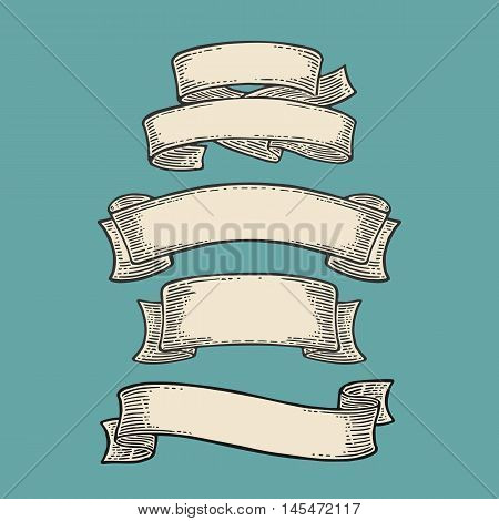 Set of ribbons isolated on blue background. Vector black vintage engraving illustration for menu poster web and label. Hand drawn in a graphic style.