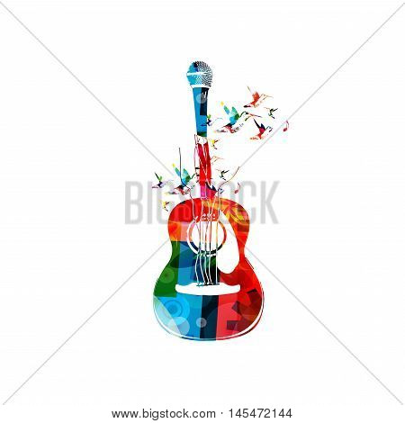 Creative music style template vector illustration, colorful acoustic guitar with microphone, string music instrument with hummingbirds background. Design for poster, concert, music festival, shop