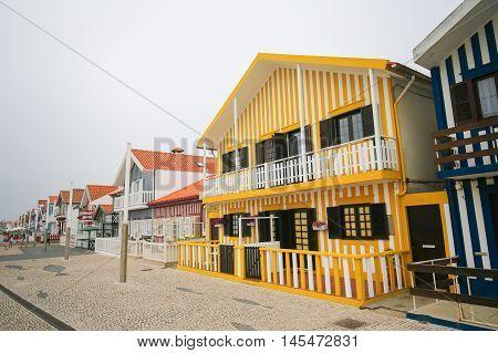 COSTA NOVA PORTUGAL - JULY 30 2016: Traditional beach houses in Costa Nova a famous beach near Aveiro Centro Portugal
