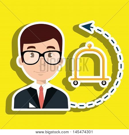 receptionist suitcase employee vector illustration design eps 10
