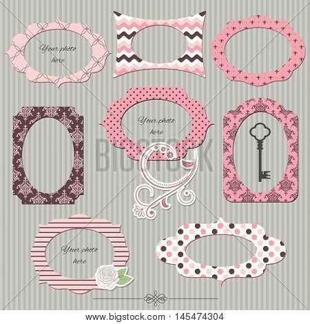 Scrapbook design elements. Textile vintage photo frames and floral decor. Girly.