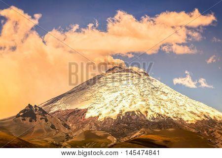 Scene Of Powerful Active Cotopaxi Volcano Erupting In Ecuador South America