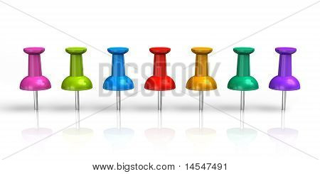 Row of color pushpins isolated on white reflective background poster