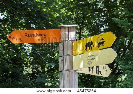 MUNICH, GERMANY - JUNE 4, 2015: Guidepost in the Tierpark Hellabrunn (Munich zoo)