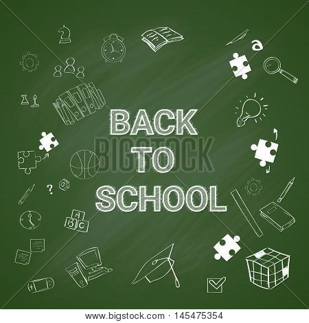 School Green Board Banner Education Supplies Hand Draw White Chalk Copy Space Vector Illustration