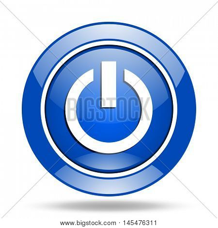 Blue round glossy vector power web icon