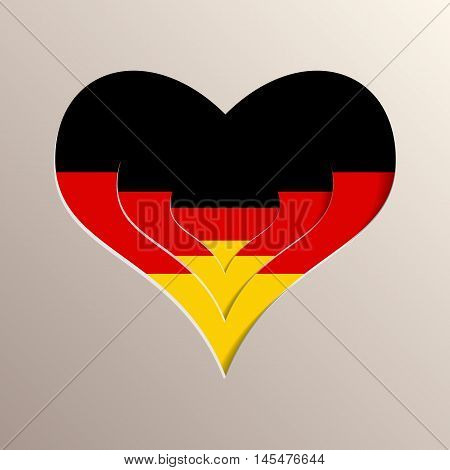 Multilayer 3D like picture of heart with Germany flag on background