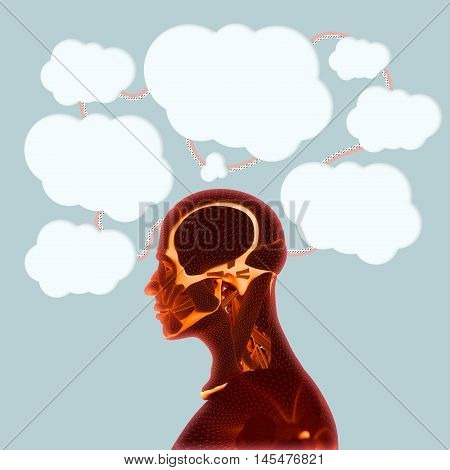 Human head side view with thought bubbles above it. Thinking about issues, having ideas, brain function, intelligence. Stream of consciousness. Train of thought. Linked ideas.