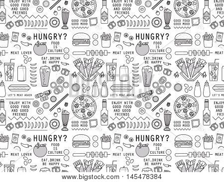 FOOD ICONS PATTERN. Vector illustration file. Can use for restaurant brand elements.  wallpaper, paper print, packaging...