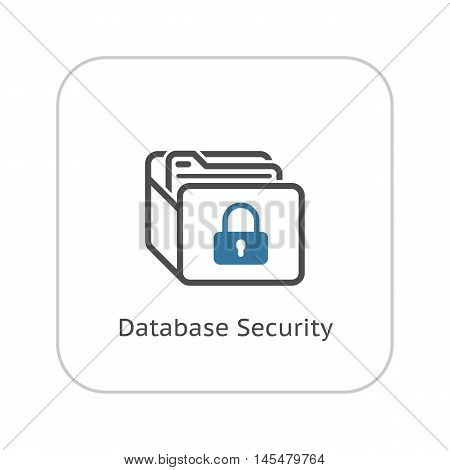 Database Security Icon. Flat Design. Security concept with a database and a padlock. Isolated Illustration. App Symbol or UI element.