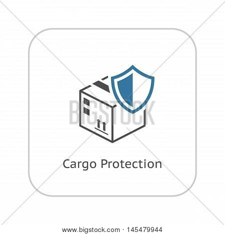 Cargo Protection Icon. Flat Design. Security concept with a cardbox and a shield. Isolated Illustration. App Symbol or UI element.
