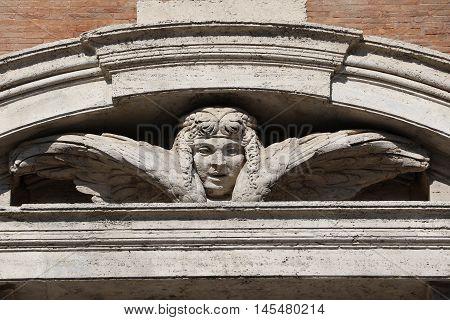 Detail of the Church of Santa Maria di Loreto in Rome