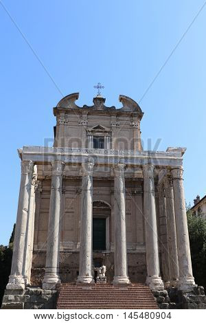 The Temple of Antoninus and Faustina in Rome