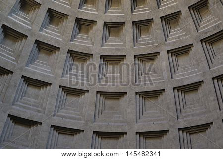 Detail of the dome of the Pantheon of Rome