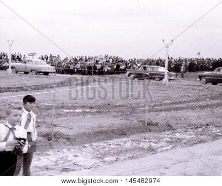 Yangiyer Uzbekistan - May 10 1963: Cortege of Fidel Castro.