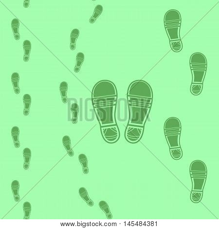 Clean Shoe Imprints Seamless Pattern Isolated on Green Background