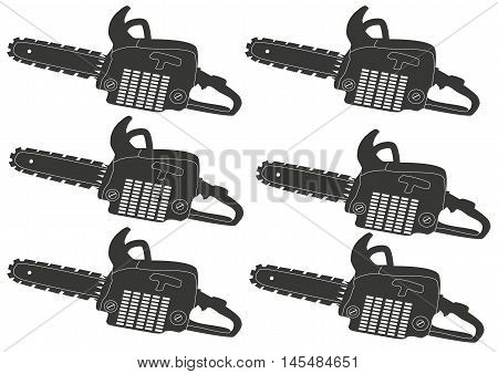 graphic, tool, gray chainsaw - vector image