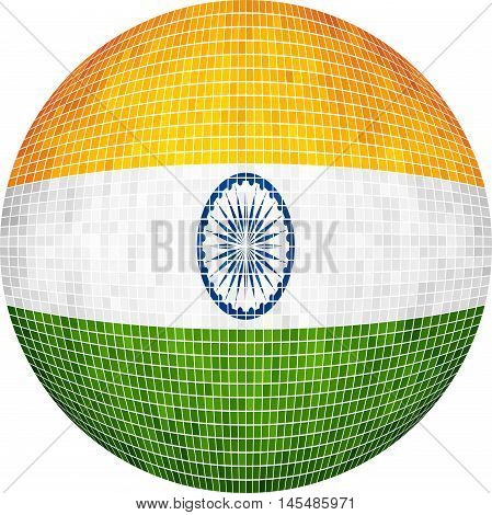 Ball with India flag - Illustration,  Sphere Indian Flag vector,   Abstract Grunge Mosaic flag of India