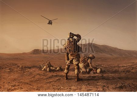 Squad of US marines waiting for medevac bird