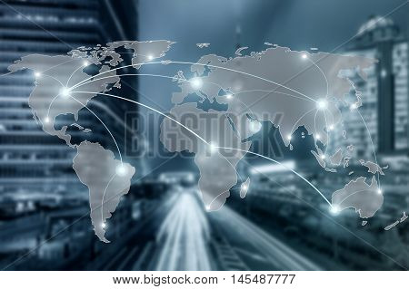 Network and world map on blur city use for global partnership networ conceptElements of this image furnished by NASA